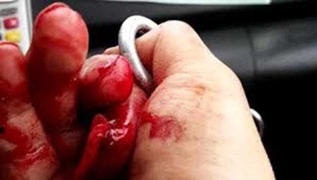 Bàn tay của họa sĩ Ali Farzat và ngón tay trỏ của nhà báo Đỗ Doãn Hoàng