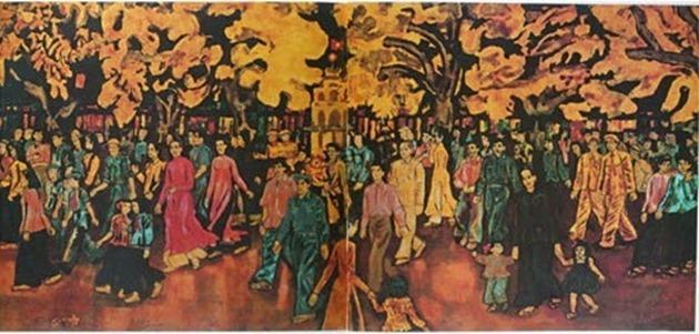 Đêm Giao thừa - sơn mài - Nguyễn Tư Nghiêm