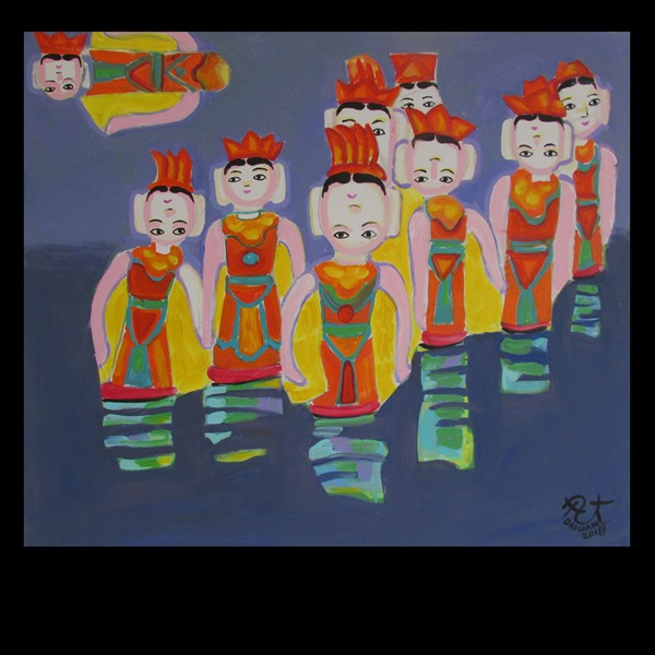 Vietnamese Water Puppetry - Mua roi nuoc-acrylic oil- 42x36inc-2018